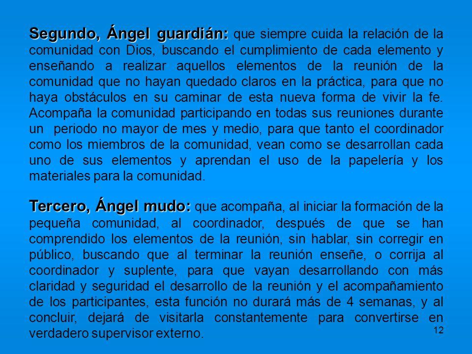 12 Segundo, Ángel guardián: Segundo, Ángel guardián: que siempre cuida la relación de la comunidad con Dios, buscando el cumplimiento de cada elemento