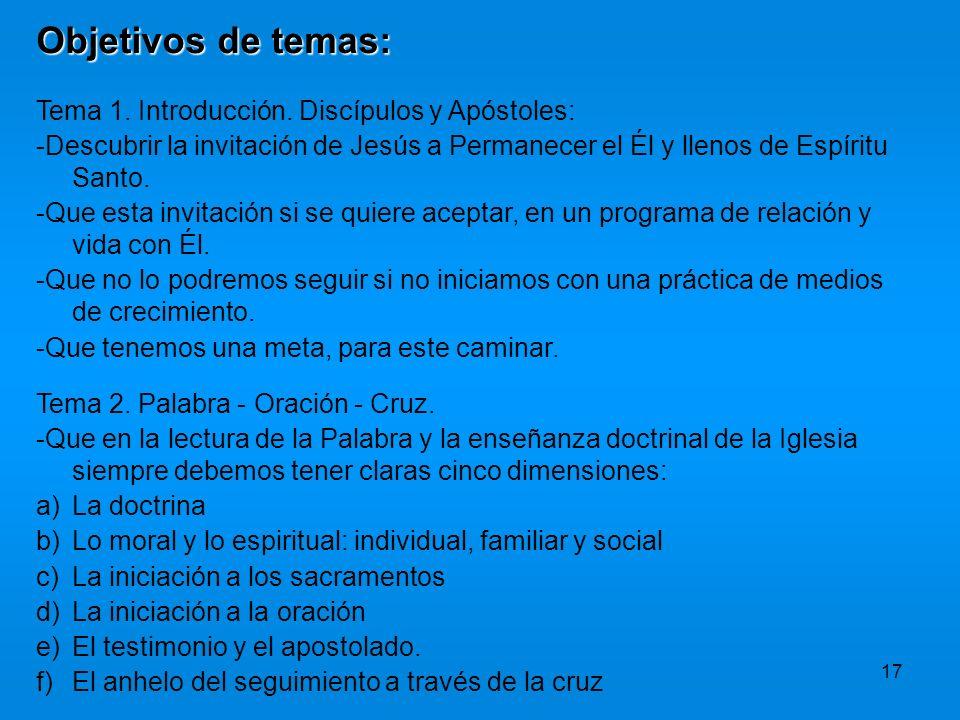 17 Objetivos de temas: Tema 1. Introducción. Discípulos y Apóstoles: -Descubrir la invitación de Jesús a Permanecer el Él y llenos de Espíritu Santo.