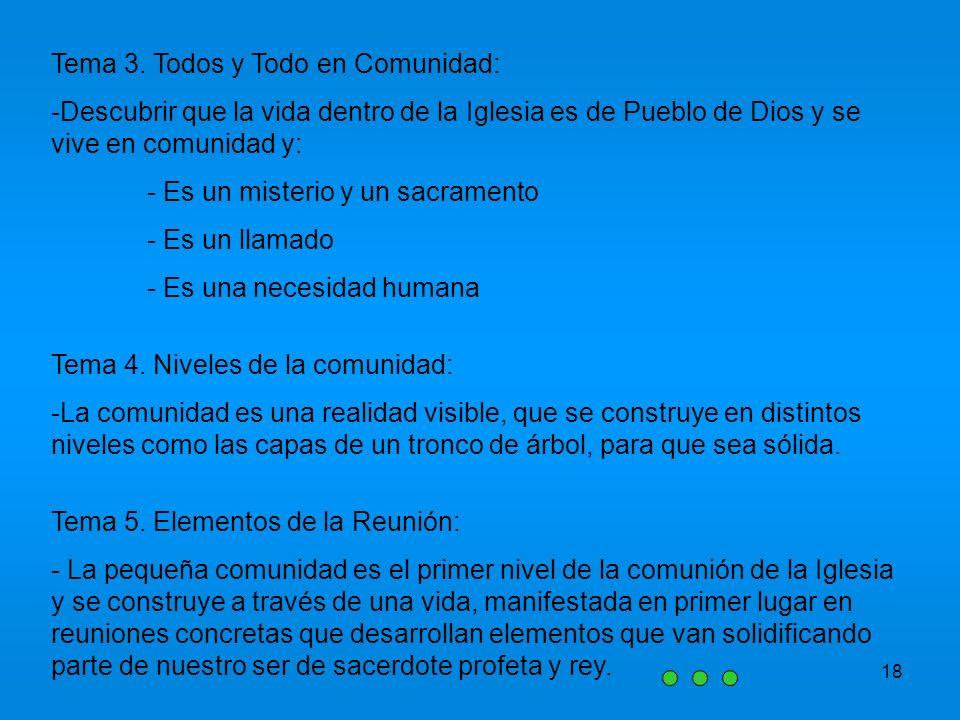 18 Tema 3. Todos y Todo en Comunidad: -Descubrir que la vida dentro de la Iglesia es de Pueblo de Dios y se vive en comunidad y: - Es un misterio y un