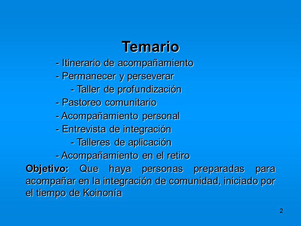 2 Temario - Itinerario de acompañamiento - Permanecer y perseverar - Taller de profundización - Pastoreo comunitario - Acompañamiento personal - Entre
