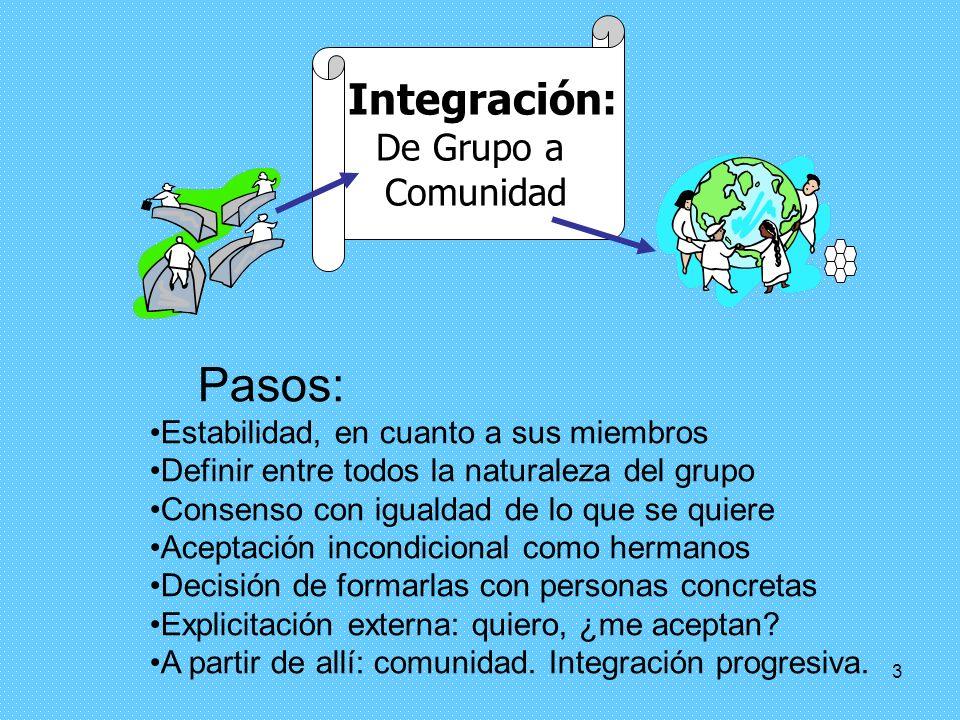 2 Definición de la comunidad La comunidad es una agrupación estable, orgánica y fraternal de personas evangelizadas: º centradas en Cristo y movidas p