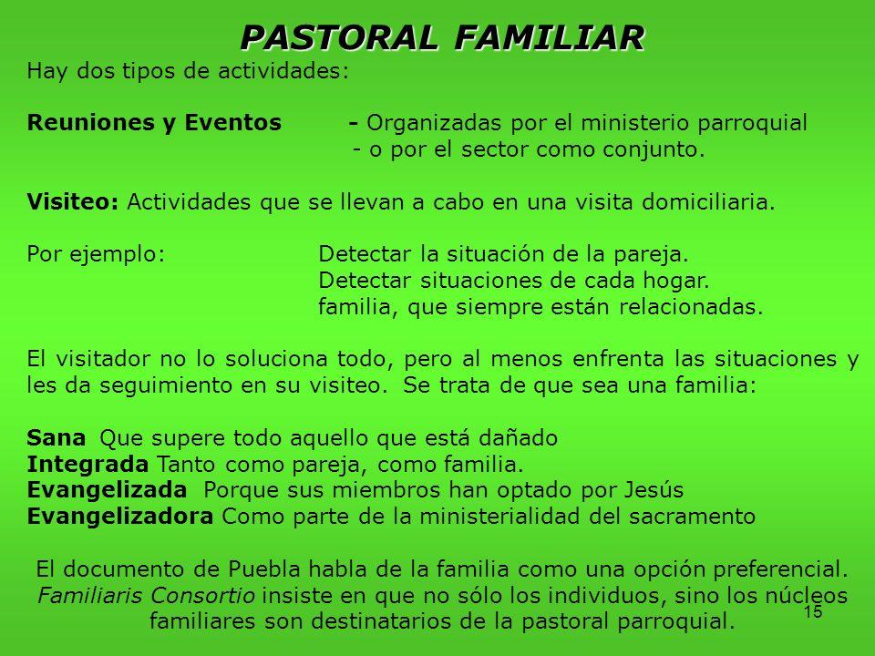 15 PASTORAL FAMILIAR Hay dos tipos de actividades: Reuniones y Eventos - Organizadas por el ministerio parroquial - o por el sector como conjunto.