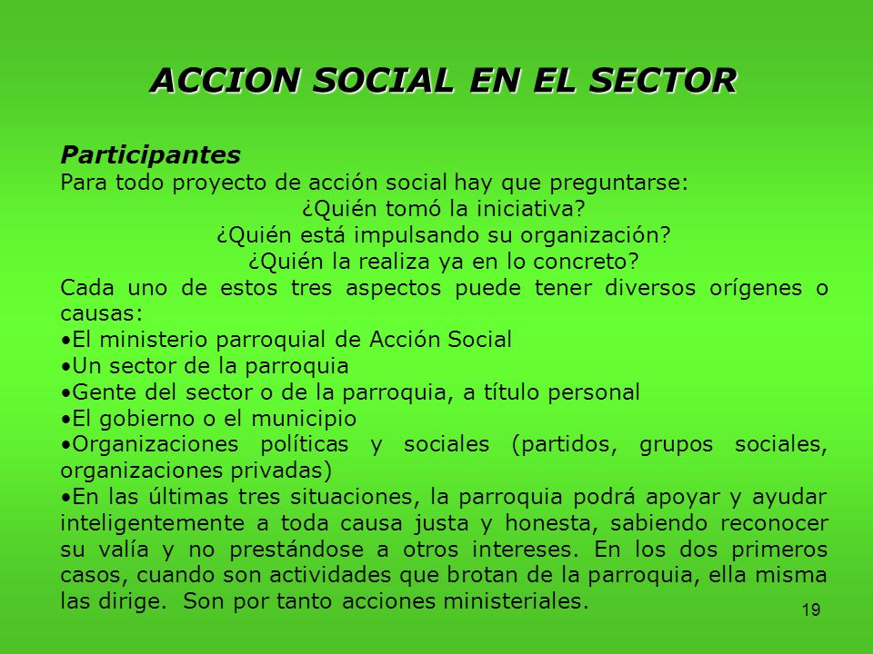 19 ACCION SOCIAL EN EL SECTOR Participantes Para todo proyecto de acción social hay que preguntarse: ¿Quién tomó la iniciativa.