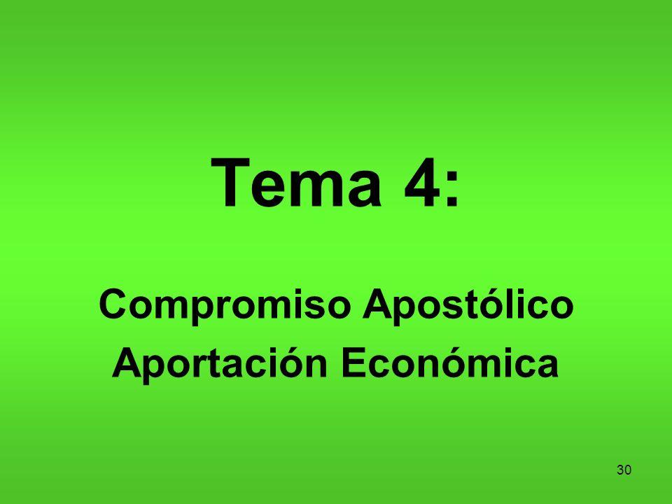 30 Tema 4: Compromiso Apostólico Aportación Económica
