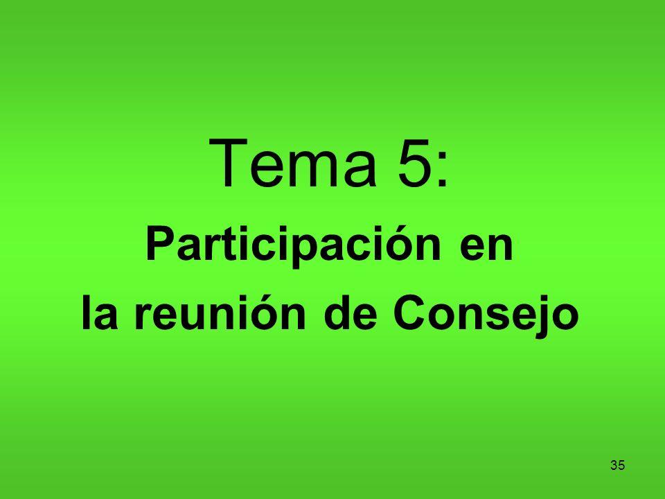 35 Tema 5: Participación en la reunión de Consejo