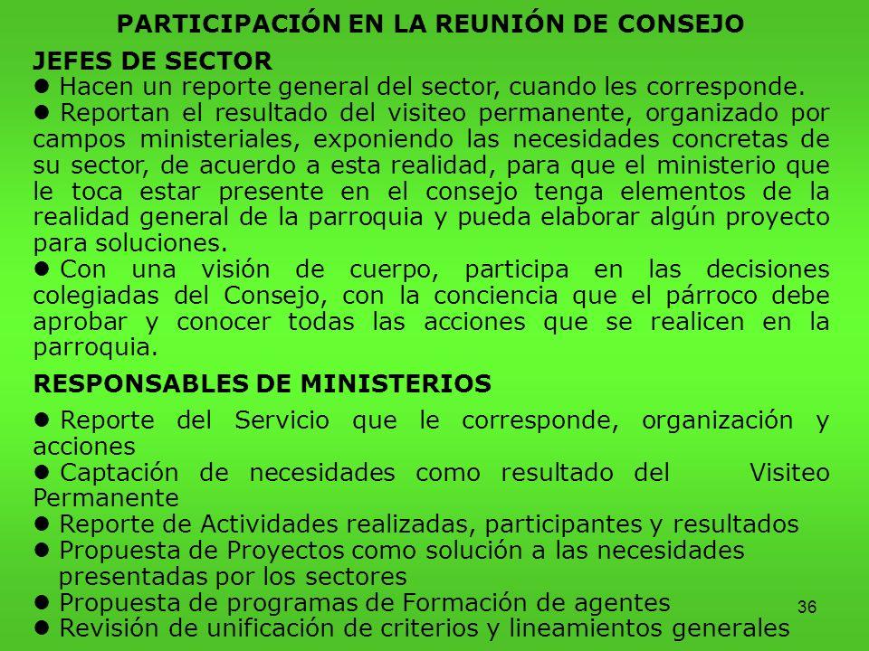 36 PARTICIPACIÓN EN LA REUNIÓN DE CONSEJO JEFES DE SECTOR l Hacen un reporte general del sector, cuando les corresponde.