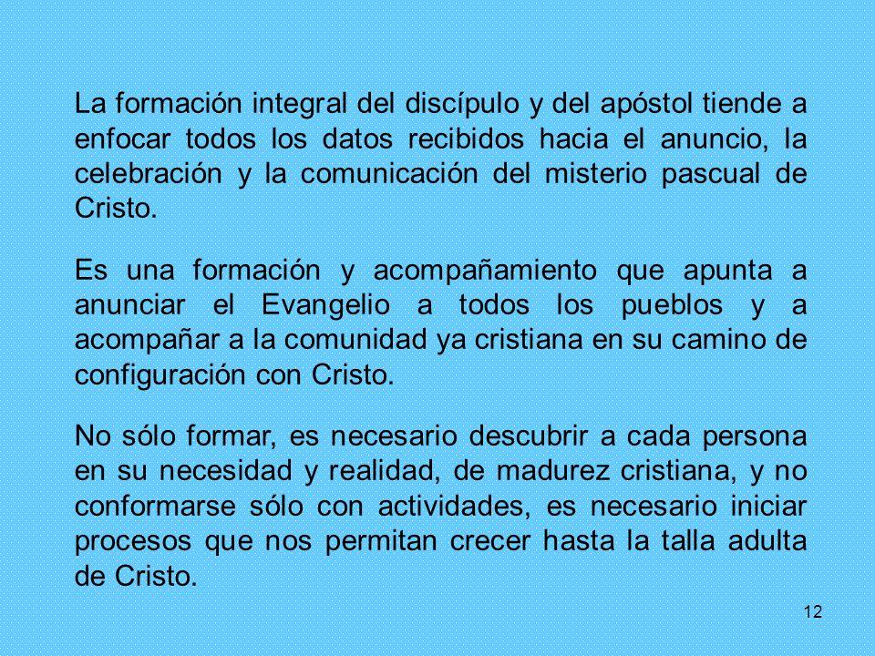 12 La formación integral del discípulo y del apóstol tiende a enfocar todos los datos recibidos hacia el anuncio, la celebración y la comunicación del misterio pascual de Cristo.