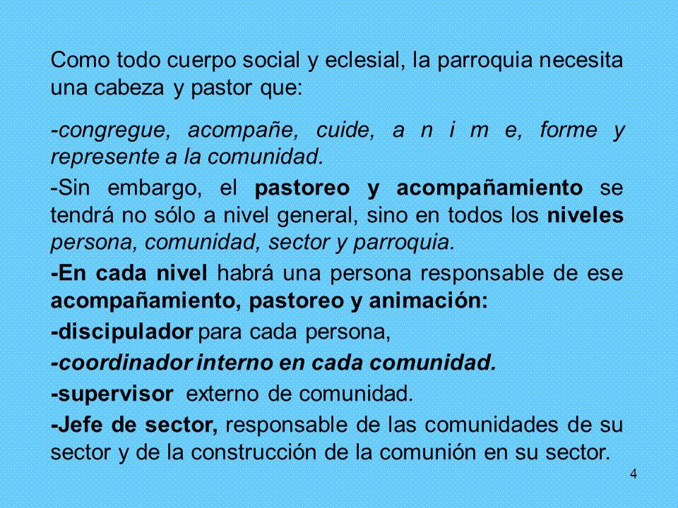 4 Como todo cuerpo social y eclesial, la parroquia necesita una cabeza y pastor que: -congregue, acompañe, cuide, a n i m e, forme y represente a la comunidad.
