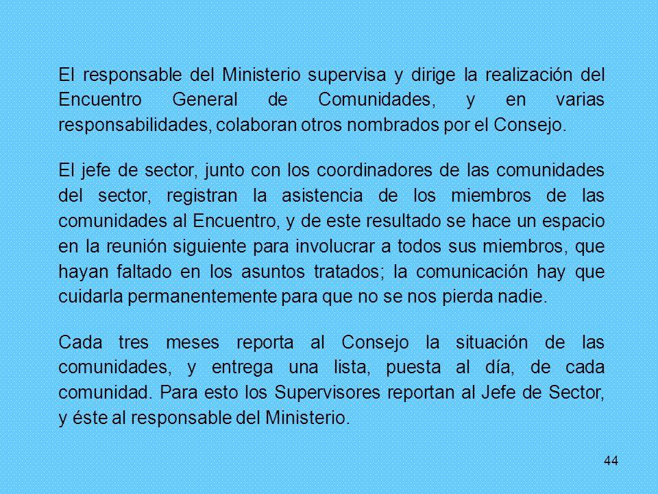44 El responsable del Ministerio supervisa y dirige la realización del Encuentro General de Comunidades, y en varias responsabilidades, colaboran otros nombrados por el Consejo.