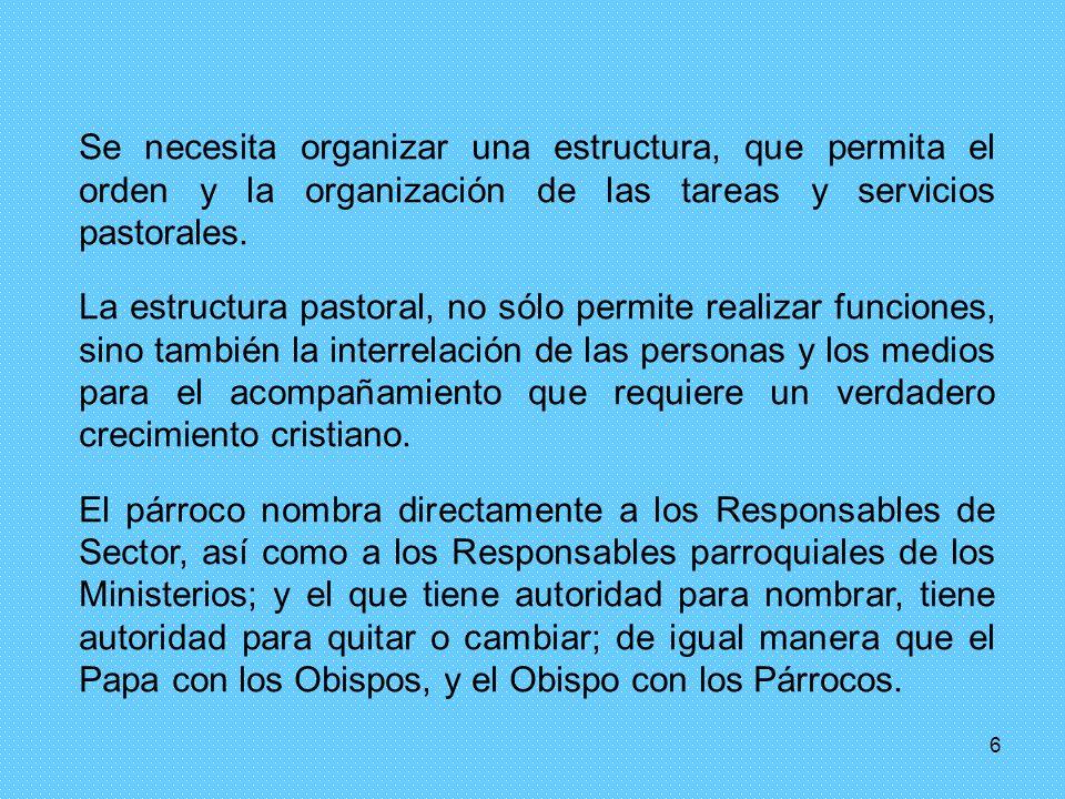 6 Se necesita organizar una estructura, que permita el orden y la organización de las tareas y servicios pastorales.