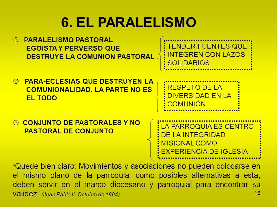 16 PARALELISMO PASTORAL EGOISTA Y PERVERSO QUE DESTRUYE LA COMUNION PASTORAL. PARA-ECLESIAS QUE DESTRUYEN LA COMUNIONALIDAD. LA PARTE NO ES EL TODO CO