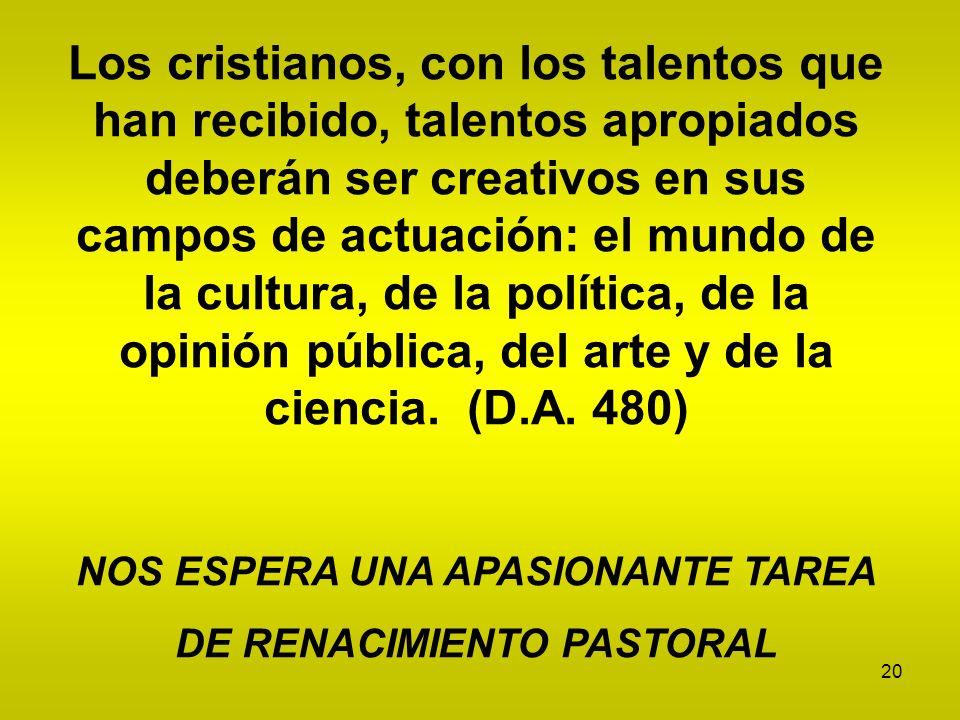 20 Los cristianos, con los talentos que han recibido, talentos apropiados deberán ser creativos en sus campos de actuación: el mundo de la cultura, de