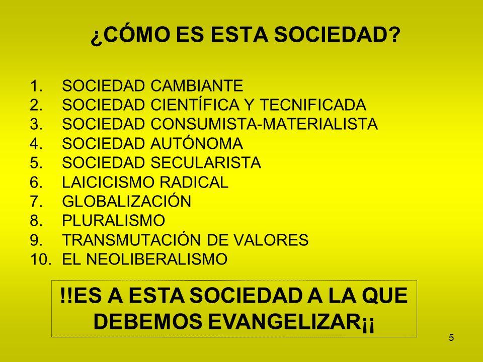 5 ¿CÓMO ES ESTA SOCIEDAD? 1.SOCIEDAD CAMBIANTE 2.SOCIEDAD CIENTÍFICA Y TECNIFICADA 3.SOCIEDAD CONSUMISTA-MATERIALISTA 4.SOCIEDAD AUTÓNOMA 5.SOCIEDAD S