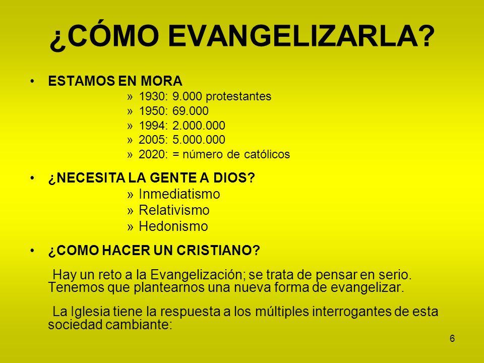 6 ¿CÓMO EVANGELIZARLA? ESTAMOS EN MORA »1930: 9.000 protestantes »1950: 69.000 »1994: 2.000.000 »2005: 5.000.000 »2020: = número de católicos ¿NECESIT