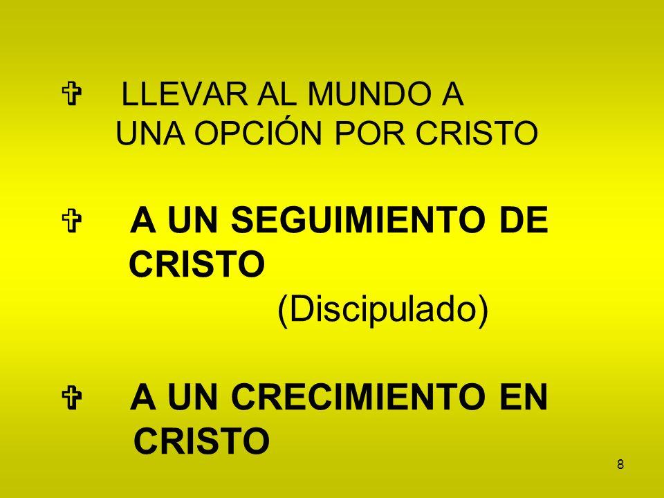 8 LLEVAR AL MUNDO A UNA OPCIÓN POR CRISTO A UN SEGUIMIENTO DE CRISTO (Discipulado) A UN CRECIMIENTO EN CRISTO
