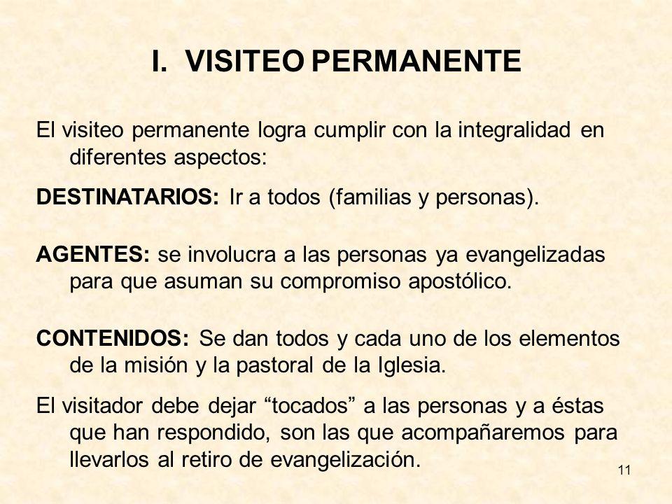 11 I.VISITEO PERMANENTE El visiteo permanente logra cumplir con la integralidad en diferentes aspectos: DESTINATARIOS: Ir a todos (familias y personas).