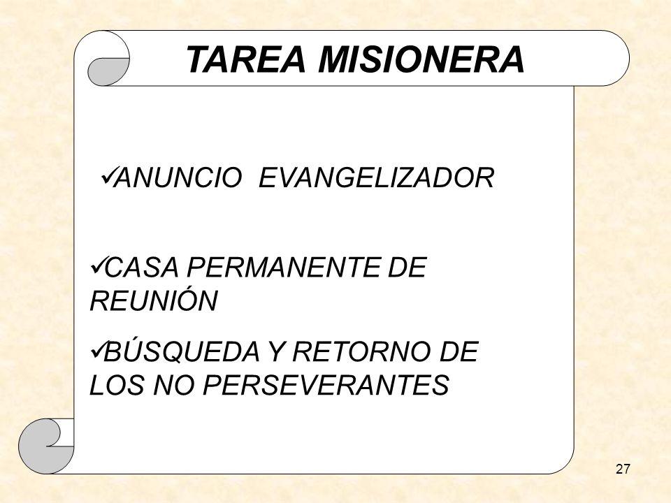 27 TAREA MISIONERA CASA PERMANENTE DE REUNIÓN BÚSQUEDA Y RETORNO DE LOS NO PERSEVERANTES ANUNCIO EVANGELIZADOR