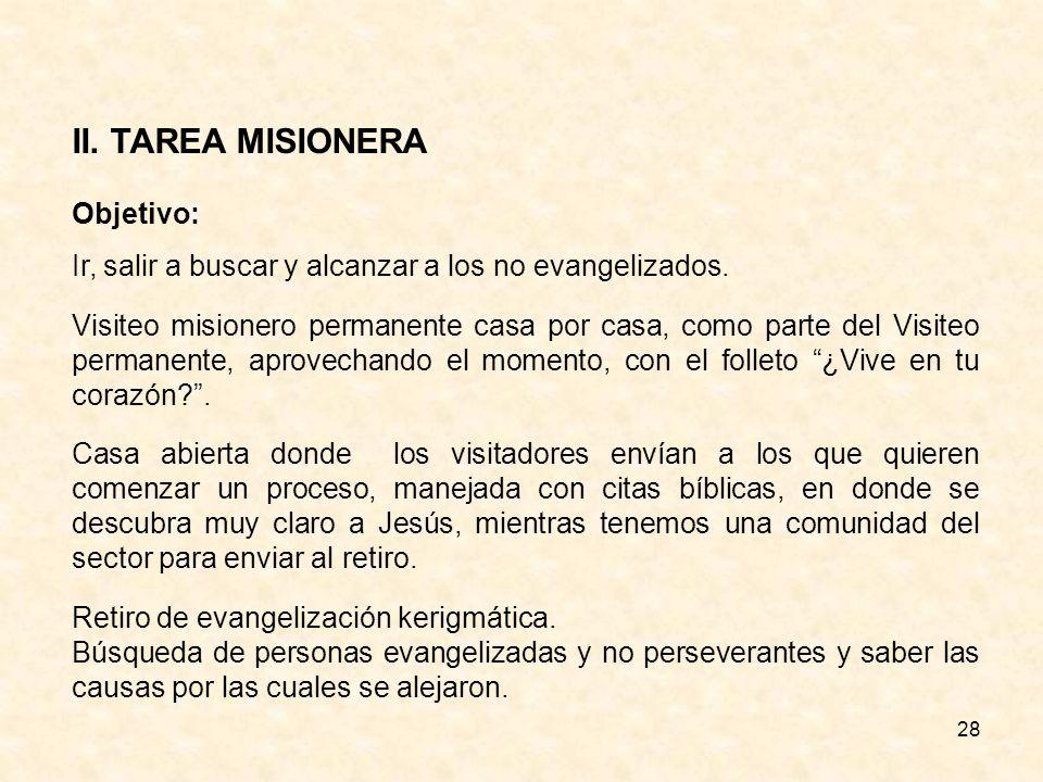28 II.TAREA MISIONERA Objetivo: Ir, salir a buscar y alcanzar a los no evangelizados.
