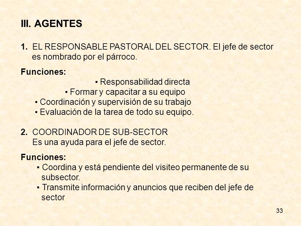 33 III.AGENTES 1. EL RESPONSABLE PASTORAL DEL SECTOR.