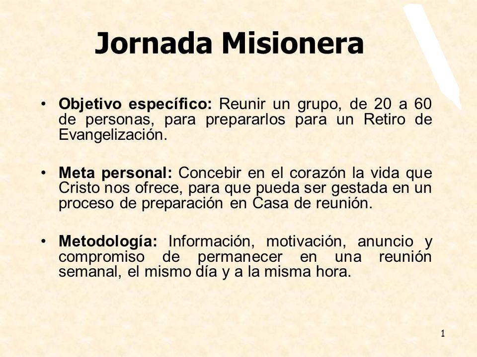 1 Jornada Misionera Objetivo específico: Reunir un grupo, de 20 a 60 de personas, para prepararlos para un Retiro de Evangelización. Meta personal: Co
