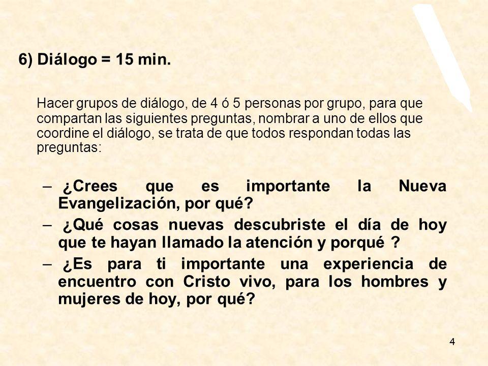 4 6) Diálogo = 15 min. Hacer grupos de diálogo, de 4 ó 5 personas por grupo, para que compartan las siguientes preguntas, nombrar a uno de ellos que c