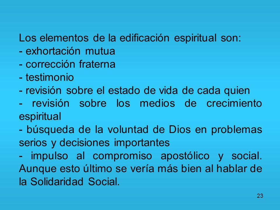 23 Los elementos de la edificación espiritual son: - exhortación mutua - corrección fraterna - testimonio - revisión sobre el estado de vida de cada q