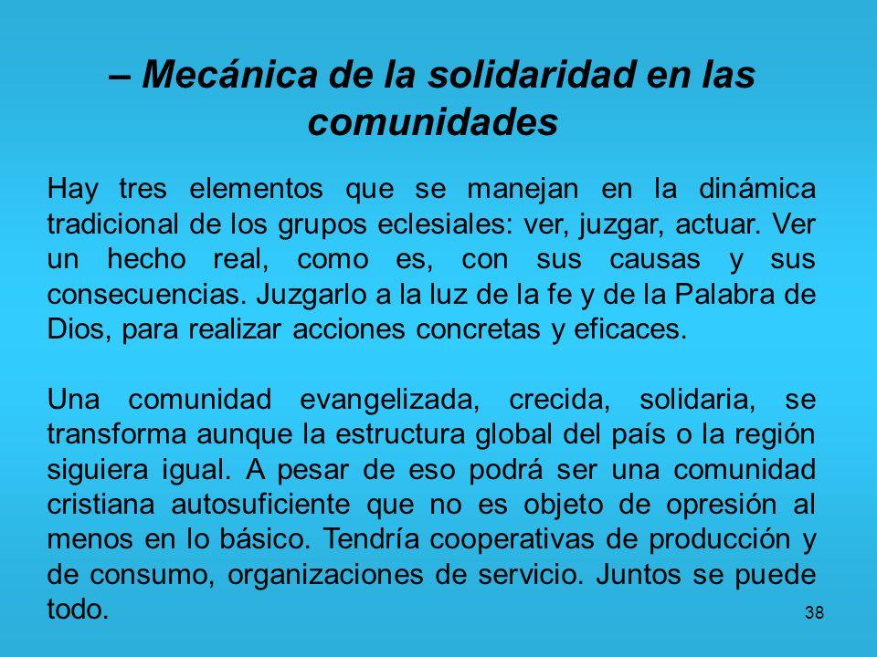 38 – Mecánica de la solidaridad en las comunidades Hay tres elementos que se manejan en la dinámica tradicional de los grupos eclesiales: ver, juzgar,