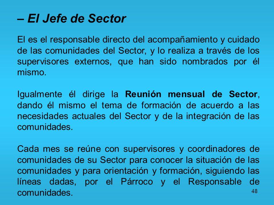 48 – El Jefe de Sector El es el responsable directo del acompañamiento y cuidado de las comunidades del Sector, y lo realiza a través de los superviso