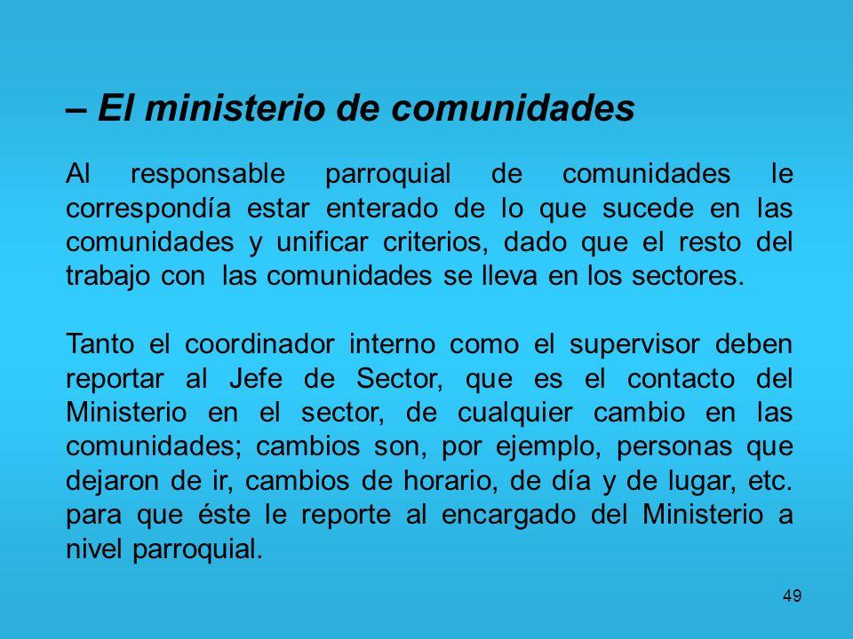 49 – El ministerio de comunidades Al responsable parroquial de comunidades le correspondía estar enterado de lo que sucede en las comunidades y unific