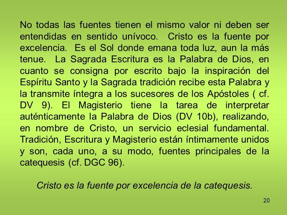 20 No todas las fuentes tienen el mismo valor ni deben ser entendidas en sentido unívoco. Cristo es la fuente por excelencia. Es el Sol donde emana to