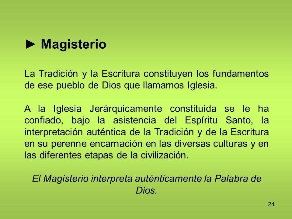 24 Magisterio La Tradición y la Escritura constituyen los fundamentos de ese pueblo de Dios que llamamos Iglesia. A la Iglesia Jerárquicamente constit
