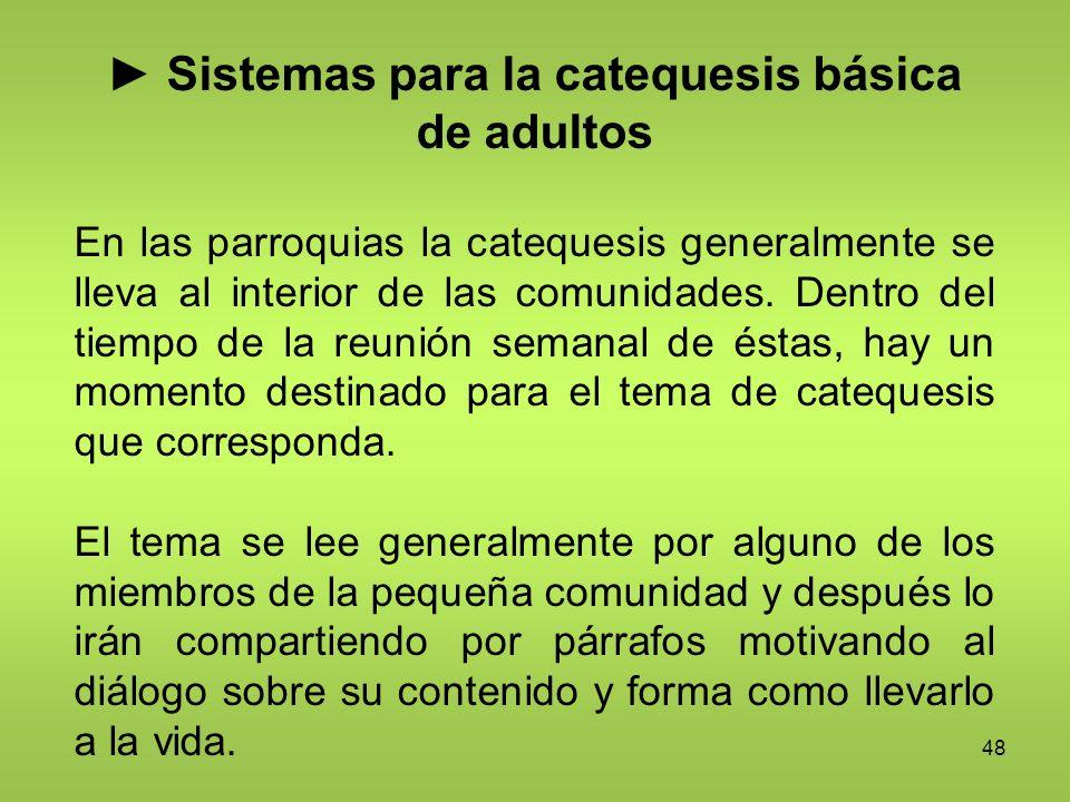48 Sistemas para la catequesis básica de adultos En las parroquias la catequesis generalmente se lleva al interior de las comunidades. Dentro del tiem