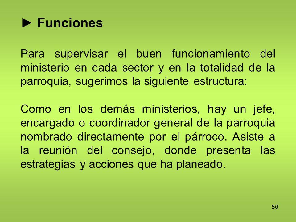 50 Funciones Para supervisar el buen funcionamiento del ministerio en cada sector y en la totalidad de la parroquia, sugerimos la siguiente estructura