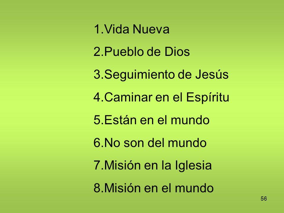 56 1.Vida Nueva 2.Pueblo de Dios 3.Seguimiento de Jesús 4.Caminar en el Espíritu 5.Están en el mundo 6.No son del mundo 7.Misión en la Iglesia 8.Misió