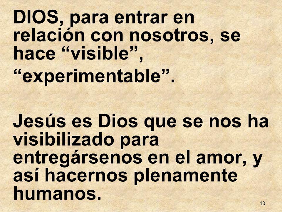13 DIOS, para entrar en relación con nosotros, se hace visible, experimentable. Jesús es Dios que se nos ha visibilizado para entregársenos en el amor