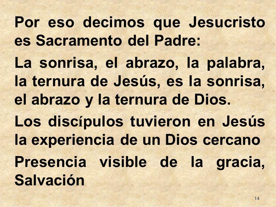 14 Por eso decimos que Jesucristo es Sacramento del Padre: La sonrisa, el abrazo, la palabra, la ternura de Jesús, es la sonrisa, el abrazo y la ternu