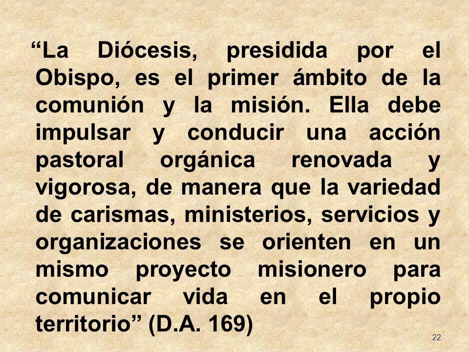 22 La Diócesis, presidida por el Obispo, es el primer ámbito de la comunión y la misión. Ella debe impulsar y conducir una acción pastoral orgánica re