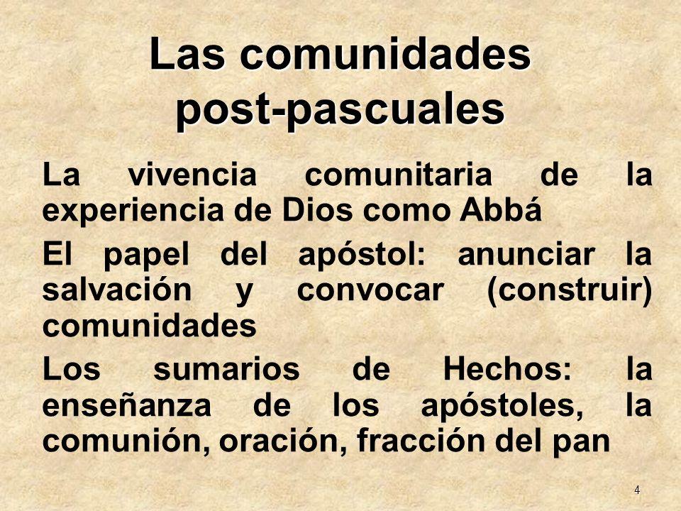 4 Las comunidades post-pascuales La vivencia comunitaria de la experiencia de Dios como Abbá El papel del apóstol: anunciar la salvación y convocar (c