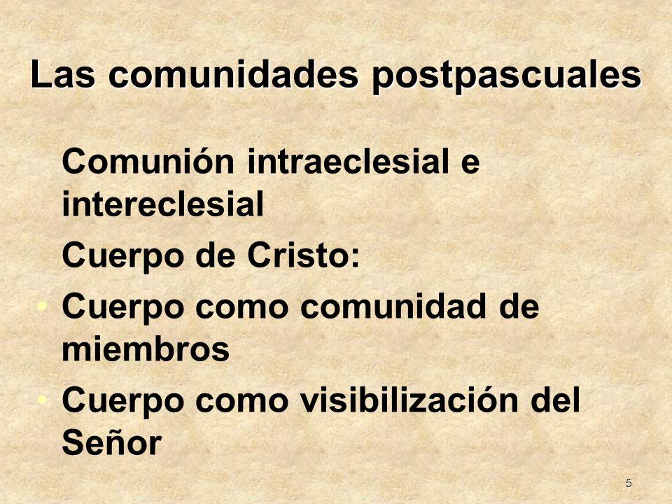 5 Las comunidades postpascuales Comunión intraeclesial e intereclesial Cuerpo de Cristo: Cuerpo como comunidad de miembros Cuerpo como visibilización