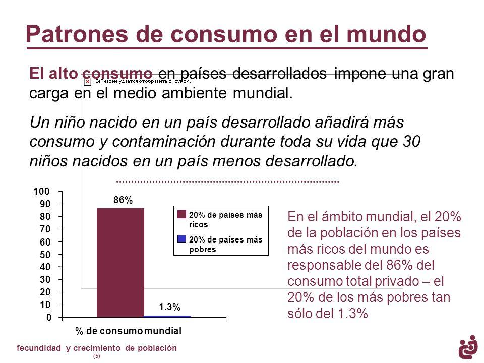 fecundidad y crecimiento de población (5) Patrones de consumo en el mundo El alto consumo en países desarrollados impone una gran carga en el medio am