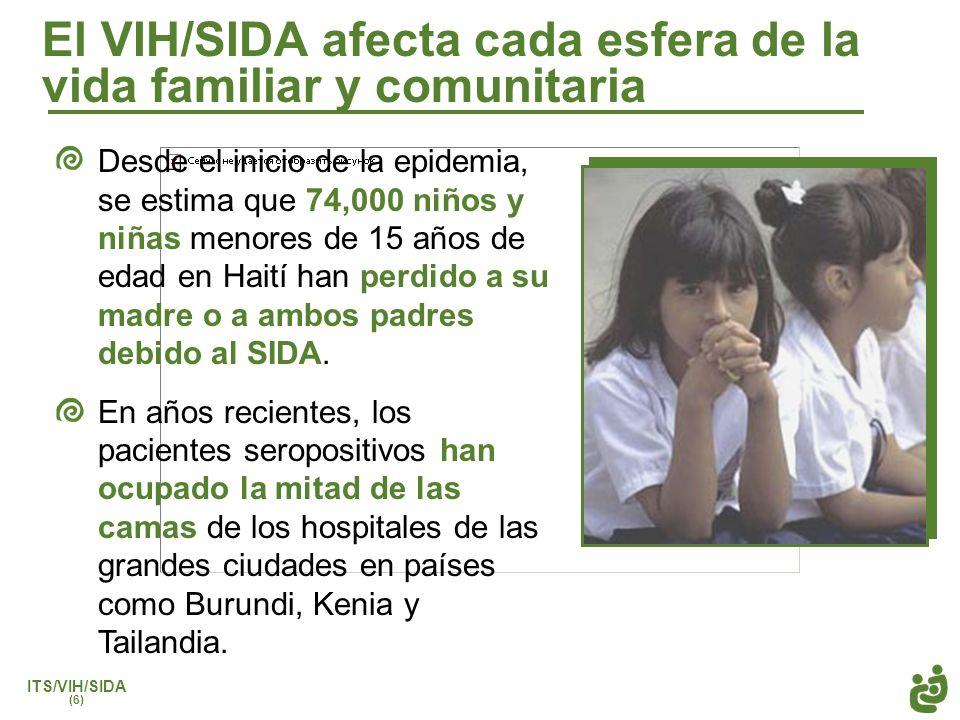 ITS/VIH/SIDA (6) El VIH/SIDA afecta cada esfera de la vida familiar y comunitaria Desde el inicio de la epidemia, se estima que 74,000 niños y niñas m