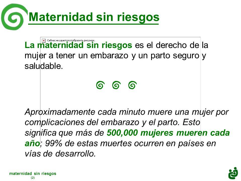 maternidad sin riesgos (2) Aproximadamente cada minuto muere una mujer por complicaciones del embarazo y el parto.