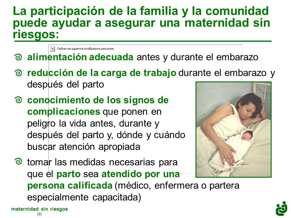 maternidad sin riesgos (6) La participación de la familia y la comunidad puede ayudar a asegurar una maternidad sin riesgos: alimentación adecuada antes y durante el embarazo reducción de la carga de trabajo durante el embarazo y después del parto conocimiento de los signos de complicaciones que ponen en peligro la vida antes, durante y después del parto y, dónde y cuándo buscar atención apropiada tomar las medidas necesarias para que el parto sea atendido por una persona calificada (médico, enfermera o partera especialmente capacitada)