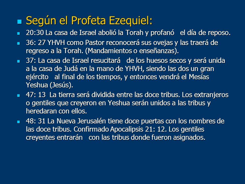 Según el Profeta Ezequiel: Según el Profeta Ezequiel: 20:30 La casa de Israel abolió la Torah y profanó el día de reposo. 20:30 La casa de Israel abol
