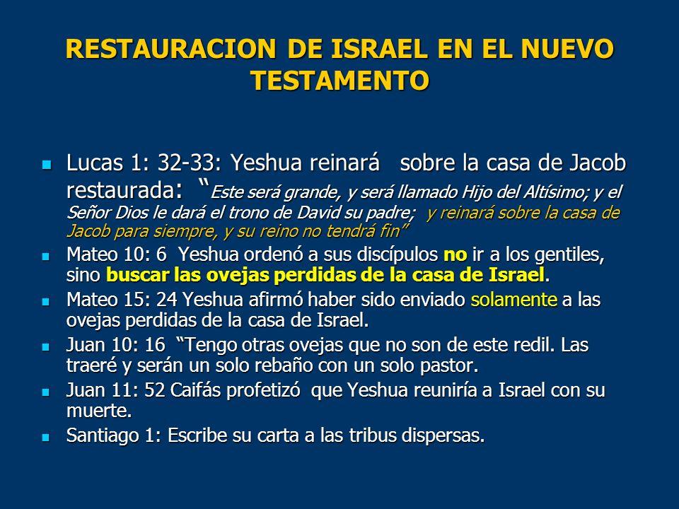 RESTAURACION DE ISRAEL EN EL NUEVO TESTAMENTO Lucas 1: 32-33: Yeshua reinará sobre la casa de Jacob restaurada : Este será grande, y será llamado Hijo