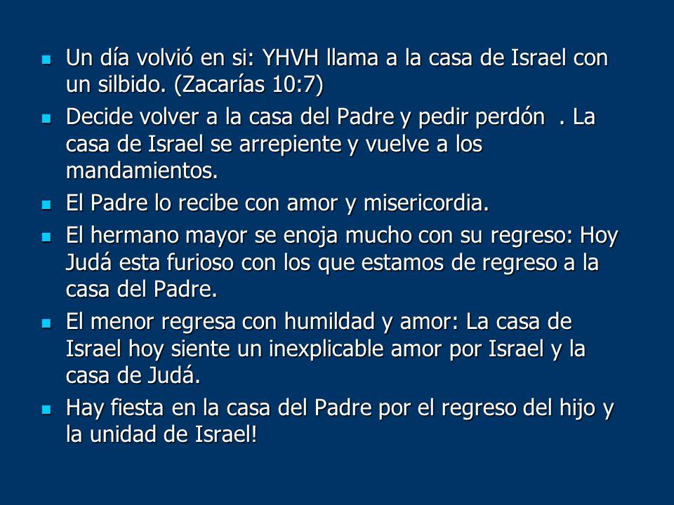 Un día volvió en si: YHVH llama a la casa de Israel con un silbido. (Zacarías 10:7) Un día volvió en si: YHVH llama a la casa de Israel con un silbido