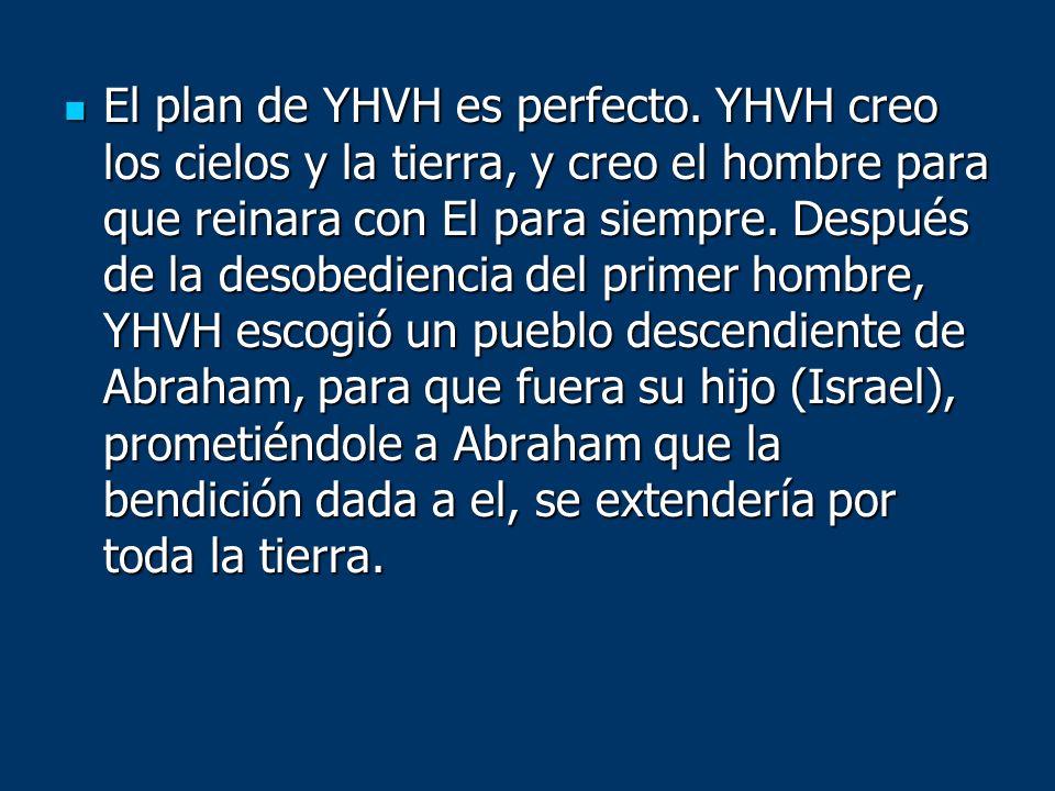 El plan de YHVH es perfecto. YHVH creo los cielos y la tierra, y creo el hombre para que reinara con El para siempre. Después de la desobediencia del