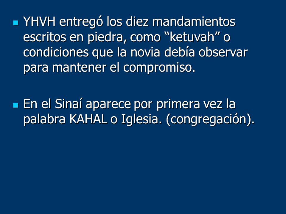 YHVH entregó los diez mandamientos escritos en piedra, como ketuvah o condiciones que la novia debía observar para mantener el compromiso. YHVH entreg