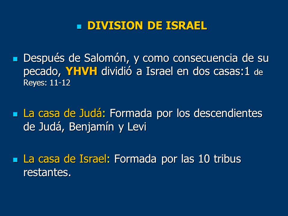 DIVISION DE ISRAEL DIVISION DE ISRAEL Después de Salomón, y como consecuencia de su pecado, YHVH dividió a Israel en dos casas:1 de Reyes: 11-12 Despu