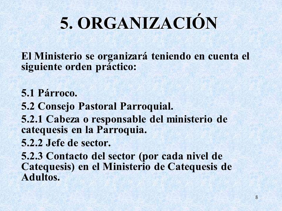 5. ORGANIZACIÓN El Ministerio se organizará teniendo en cuenta el siguiente orden práctico: 5.1 Párroco. 5.2 Consejo Pastoral Parroquial. 5.2.1 Cabeza